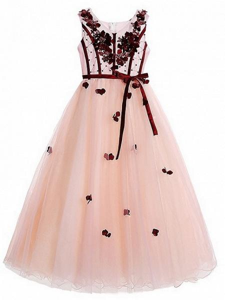 Ball Gown Floor Length Pageant Flower Girl Dresses - Polyester Sleeveless V Neck With Sash / Ribbon / Beading / Appliques_4