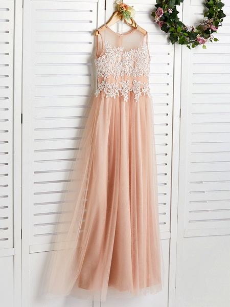 A-Line Jewel Neck Sweep / Brush Train Lace / Tulle Junior Bridesmaid Dress With Appliques_3