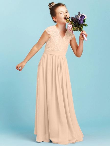 Princess / A-Line V Neck Floor Length Chiffon / Lace Junior Bridesmaid Dress With Sash / Ribbon / Pleats / Wedding Party_15