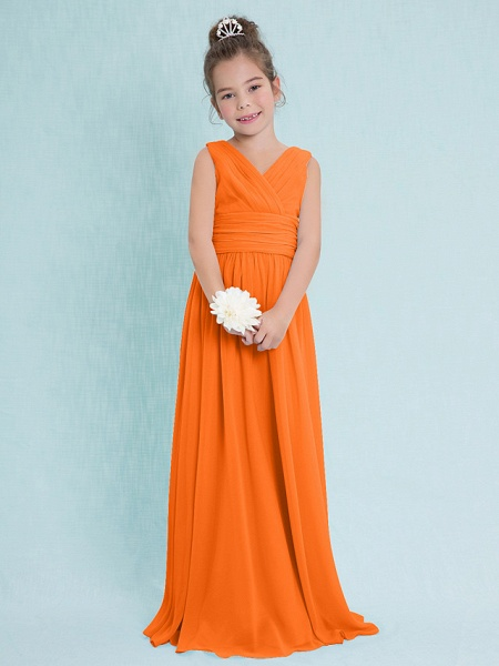 Sheath / Column V Neck Floor Length Chiffon Junior Bridesmaid Dress With Criss Cross / Ruched / Natural_15
