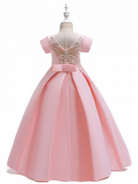 A-Line Round Floor Length Cotton Junior Bridesmaid Dress With Bow(S) / Appliques_12