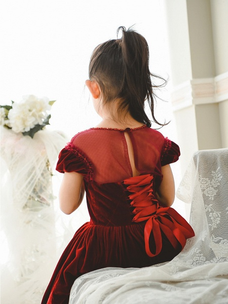 Ball Gown Tea Length Wedding / Birthday / Pageant Flower Girl Dresses - Velvet Short Sleeve Jewel Neck With Pearls_3