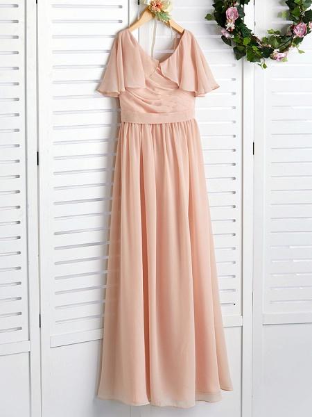 A-Line Jewel Neck Maxi Chiffon Junior Bridesmaid Dress With Ruffles / Ruching / Wedding Party_3