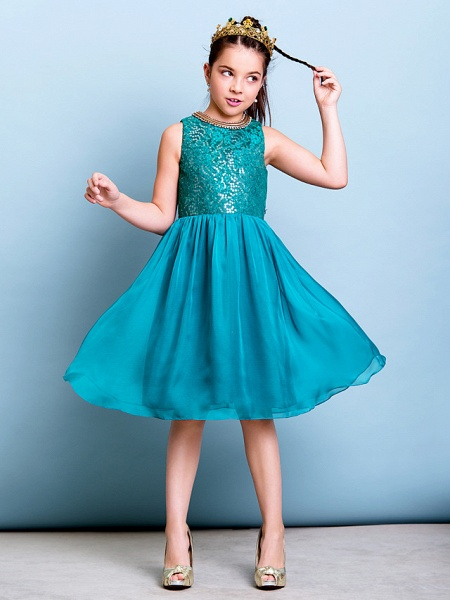 A-Line Jewel Neck Knee Length Chiffon / Sequined Junior Bridesmaid Dress With Sequin_5
