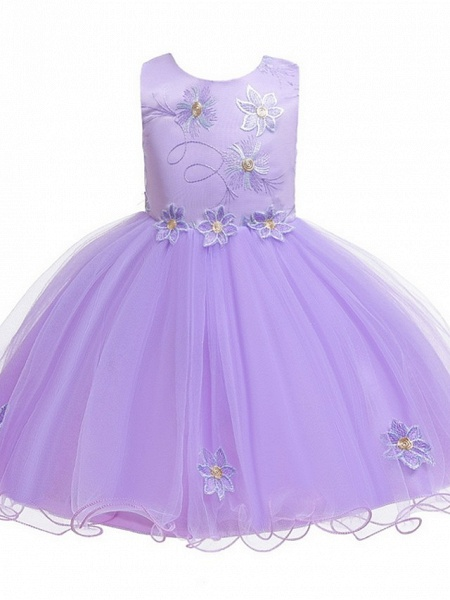 Princess / Ball Gown Floor Length Wedding / Party Flower Girl Dresses - Satin / Tulle Sleeveless Jewel Neck With Bow(S) / Appliques_7