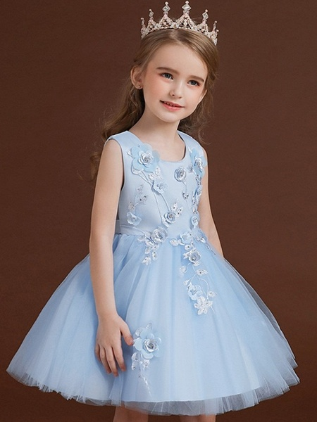 Princess / Ball Gown Knee Length Wedding / Party Flower Girl Dresses - Tulle / Satin Chiffon Sleeveless Jewel Neck With Bow(S) / Appliques_3
