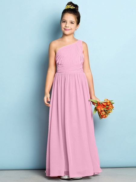 A-Line One Shoulder Ankle Length Chiffon Junior Bridesmaid Dress With Side Draping / Natural / Mini Me_10
