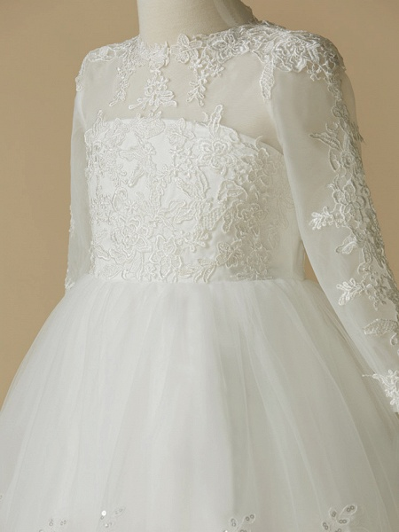 Princess Knee Length Wedding / First Communion Flower Girl Dresses - Lace / Tulle Long Sleeve Jewel Neck With Lace / Appliques_4