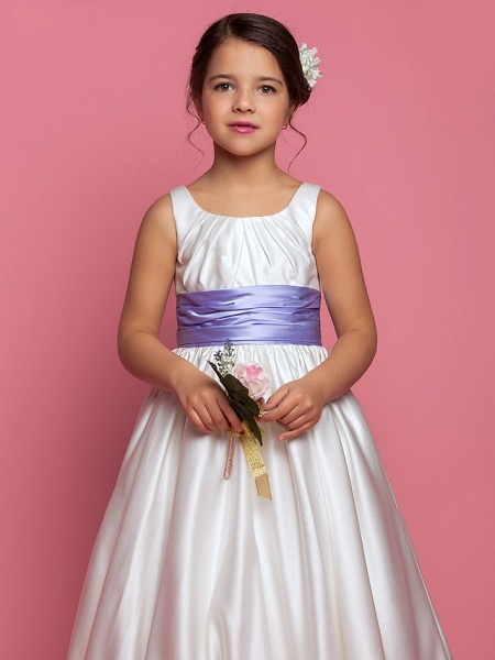 Princess / A-Line Ankle Length Satin Sleeveless Square Neck With Sash / Ribbon / Ruched / Side Draping_4