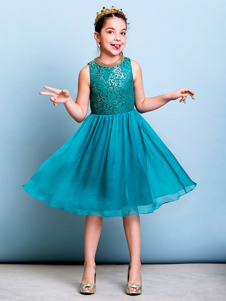 A-Line Jewel Neck Knee Length Chiffon / Sequined Junior Bridesmaid Dress With Sequin_4