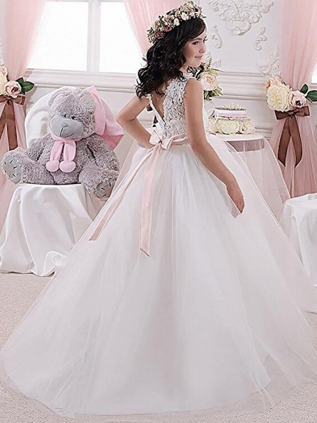Princess / Ball Gown Floor Length Wedding / Party Flower Girl Dresses - Lace / Tulle Sleeveless Jewel Neck With Sash / Ribbon / Pleats / Solid_2