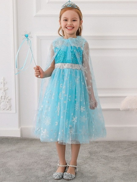 Princess / Ball Gown Tea Length Wedding / Party Flower Girl Dresses - Tulle Sleeveless Jewel Neck With Bow(S) / Paillette_2