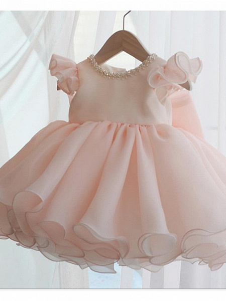 A-Line Short / Mini Party / Birthday Flower Girl Dresses - Poly Sleeveless Jewel Neck With Lace / Bow(S) / Tier_1