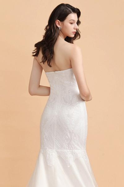 Sparkle Mermaid Sweetheart White Court Train Wedding Dress_6