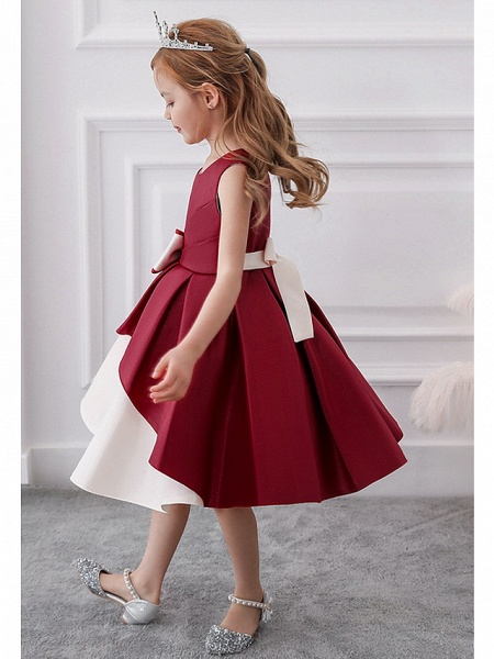 Princess / A-Line Knee Length Wedding / Party Flower Girl Dresses - Mikado Sleeveless Jewel Neck With Bow(S) / Tiered_4