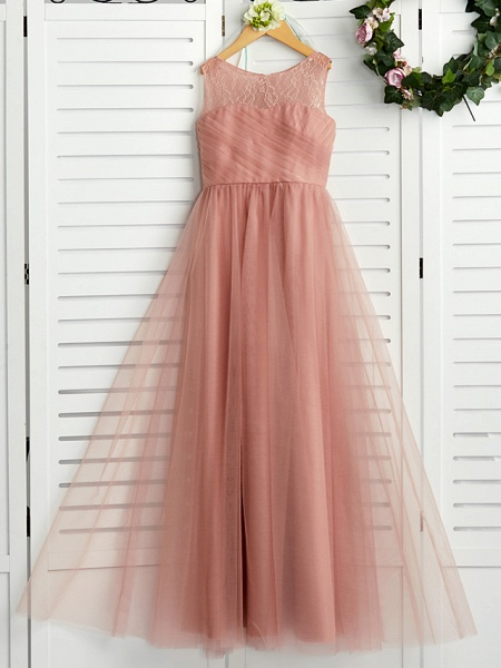 A-Line Crew Neck Maxi Lace / Tulle Junior Bridesmaid Dress With Lace / Pleats_1