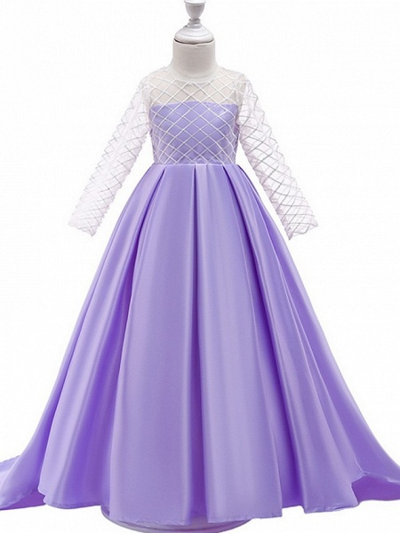 A-Line Round Court Train Cotton Junior Bridesmaid Dress With Bow(S) / Pleats_1