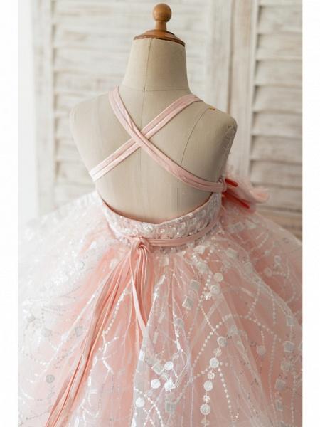 Ball Gown Knee Length Wedding / Birthday Flower Girl Dresses - Tulle Sleeveless Spaghetti Strap With Bow(S) / Pearls / Flower_4