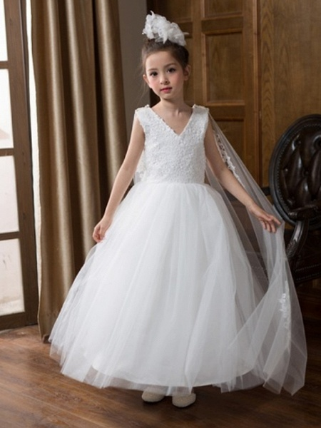 Ball Gown Floor Length Wedding Flower Girl Dresses - Chiffon Sleeveless V Neck With Bow(S) / Solid_1