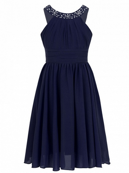A-Line Round Tea Length Chiffon Junior Bridesmaid Dress With Beading / Ruching_4
