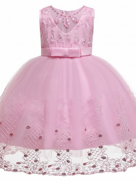 Princess / Ball Gown Knee Length Wedding / Party Flower Girl Dresses - Tulle Sleeveless Jewel Neck With Sash / Ribbon / Bow(S) / Beading_7