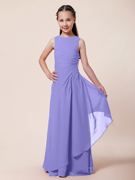 A-Line / Sheath / Column Bateau Neck Floor Length Chiffon Junior Bridesmaid Dress With Beading / Side Draping / Spring / Summer / Fall / Winter / Wedding Party_34