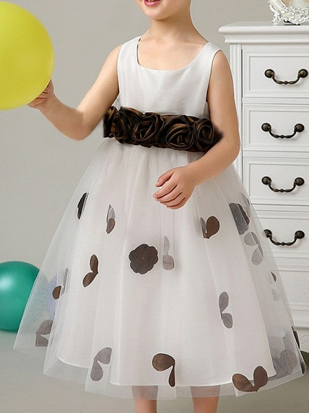 A-Line Knee Length Pageant Flower Girl Dresses - Polyester Sleeveless Scoop Neck With Bow(S) / Pattern / Print / Appliques_2