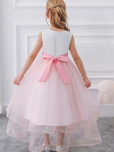 Princess / Ball Gown Floor Length Wedding / Party Flower Girl Dresses - Tulle Sleeveless Jewel Neck With Sash / Ribbon / Bow(S) / Appliques_3
