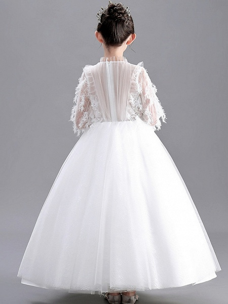 Ball Gown Floor Length Wedding / Party Flower Girl Dresses - Lace / Tulle Long Sleeve Jewel Neck With Appliques_5
