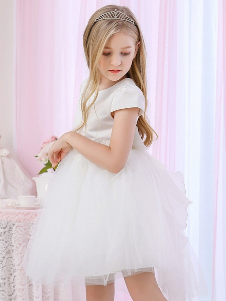 Princess / Ball Gown Medium Length Wedding / Event / Party Flower Girl Dresses - Satin / Tulle Cap Sleeve Jewel Neck With Beading / Appliques / Color Block_6