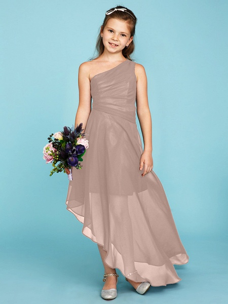 A-Line One Shoulder Asymmetrical Chiffon Junior Bridesmaid Dress With Side Draping / Wedding Party_17