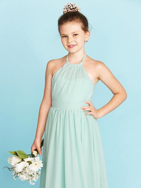 Princess / A-Line Halter Neck Floor Length Chiffon Junior Bridesmaid Dress With Sash / Ribbon / Pleats / Wedding Party / Open Back_6