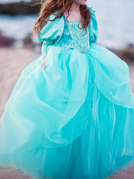Ball Gown Floor Length Pageant Flower Girl Dresses - Polyester Long Sleeve Square Neck With Lace_5