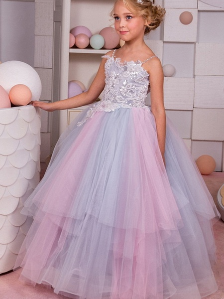 Ball Gown Floor Length Event / Party / Formal Evening Flower Girl Dresses - Polyester Sleeveless Spaghetti Strap With Tier / Appliques_3