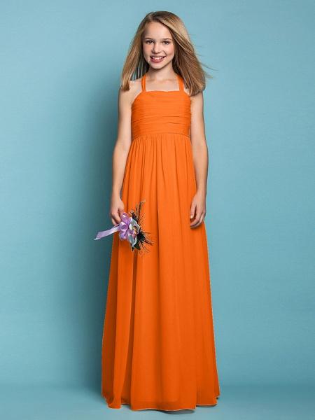 Sheath / Column Halter Neck Floor Length Chiffon Junior Bridesmaid Dress With Ruched / Spring / Summer / Fall / Apple / Hourglass_16
