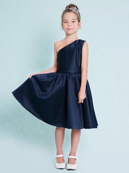 A-Line One Shoulder Knee Length Satin Junior Bridesmaid Dress With Sash / Ribbon / Pleats / Natural_2