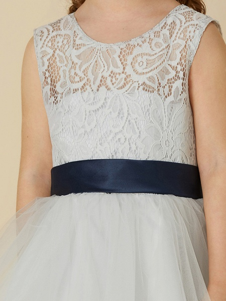 A-Line Knee Length Lace / Tulle Sleeveless Scoop Neck With Sash / Ribbon / Bow(S)_6
