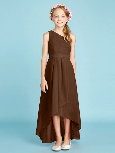 A-Line One Shoulder Asymmetrical Chiffon Junior Bridesmaid Dress With Sash / Ribbon / Bow(S) / Side Draping / Natural_26