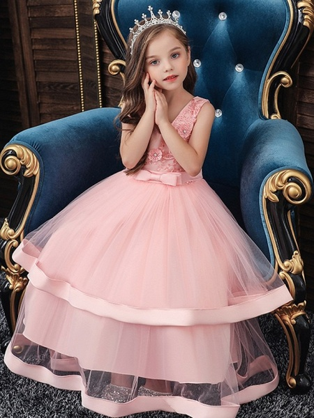 Princess / Ball Gown Floor Length Wedding / Party Flower Girl Dresses - Tulle Sleeveless V Neck With Sash / Ribbon / Bow(S) / Tier_2