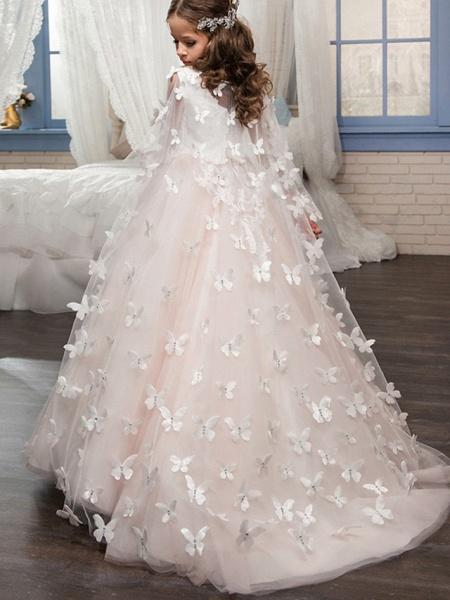 Princess Floor Length Wedding / Birthday / Pageant Flower Girl Dresses - Tulle Sleeveless Boat Neck With Lace / Appliques_3