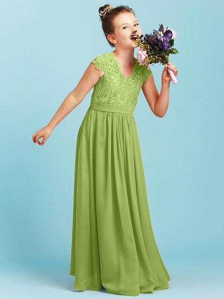 Princess / A-Line V Neck Floor Length Chiffon / Lace Junior Bridesmaid Dress With Sash / Ribbon / Pleats / Wedding Party_41