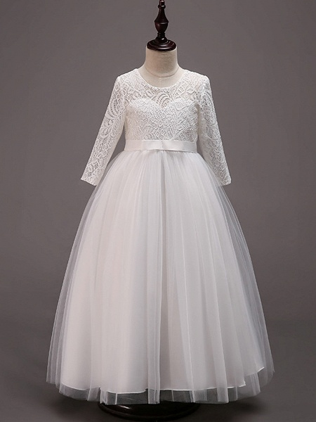 Princess Floor Length Wedding / Party / Pageant Flower Girl Dresses - Lace / Tulle / Cotton Half Sleeve Jewel Neck With Lace / Belt_1