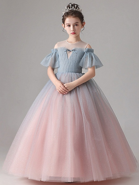 Ball Gown Floor Length Party / Birthday Flower Girl Dresses - Tulle Short Sleeve Jewel Neck With Pleats_4