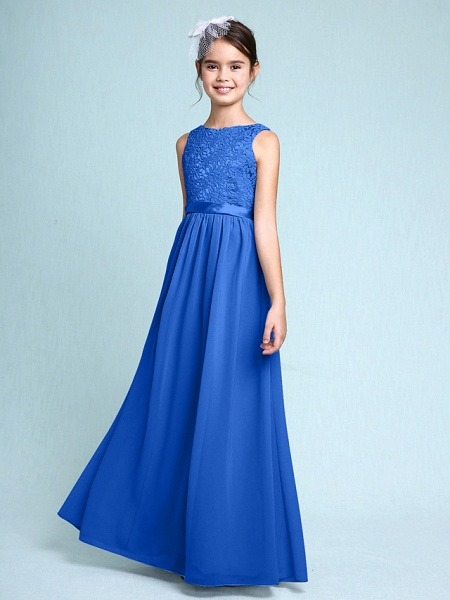 Sheath / Column Bateau Neck Floor Length Chiffon / Lace Junior Bridesmaid Dress With Lace / Natural_33