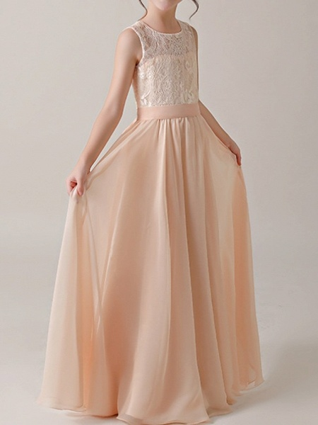 A-Line Floor Length Pageant Flower Girl Dresses - Cotton Sleeveless Jewel Neck With Lace / Sash / Ribbon_3