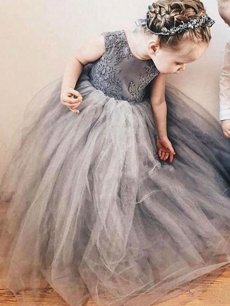 A-Line Sweep / Brush Train Wedding Flower Girl Dresses - Satin / Taffeta / Tulle Sleeveless Jewel Neck With Bow(S) / Tier / Solid_1