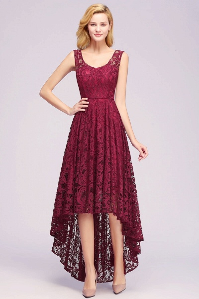 Elegant A-line Sleeveless Crew Hi-lo Lace Dress_5