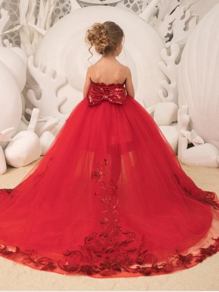 Ball Gown Court Train Wedding / Party Flower Girl Dresses - Tulle Sleeveless Strapless With Bow(S) / Appliques / Paillette_2
