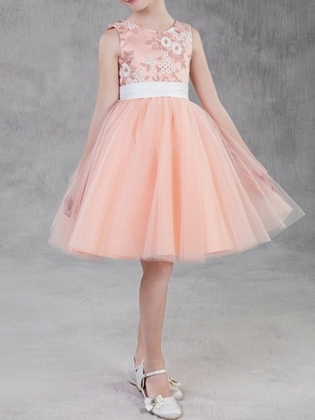 A-Line Knee Length Pageant Flower Girl Dresses - Polyester Sleeveless Jewel Neck With Appliques_3