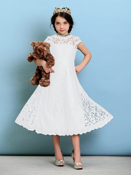 Princess / A-Line Jewel Neck Tea Length Lace Junior Bridesmaid Dress With Pleats / Natural_20